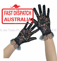 Costume Fancy Dress Party Goth 20's 80's Lace Stretch Gloves Full Finger Black