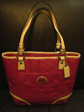 COACH PEYTON EMBOSSED PATENT TOTE PURSE IN MAGENTA, TAN AND SILVER - F22322