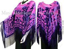 Silk Burnout Velvet Poncho Kimono Top Shawl Magenta & Purple Maya Matazaro