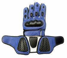 Kids Childrens Sport Minimoto Motorcycle  Racing Leather G-304 Glove Blue - T