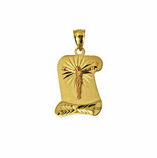 14K Solid Yellow 2 Tone Gold Jesus Scroll Charm Pendant