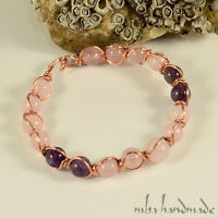 WOMEN'S ROSE QUARTZ & AMETHYST BEADS COPPER WIRE WRAPPED GEMSTONE BRACELET