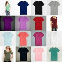 New J.Crew Womens Tissue V-Neck Tee Knit Top Cotton Slim T-Shirt Sizes XXS-XXL