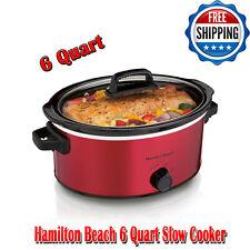 Hamilton Beach 6 Qt Slow Cooker, Red, 3 Temperature Settings, Kitchen Appliances