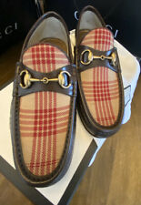 Gucci 496580 Mens Camel/Red Leather & Tweed Loafer Formal Casual Slip on Shoes