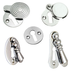 Escutcheons Keyhole Covers in Polished Chrome Heavy Cast - 5 More Design Options