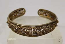 Antique Chinese Asian Gilt Sterling Silver Filigree Bracelet Bangle Jewelry