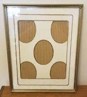 """Vintage 11"""" x 14"""" Gold Tone Metal Picture Frame Easel Back Ornate Excellent!"""