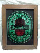 New listing Vintagr Heineken Beer Holland Glass Sparkled Reverse Painted Wood Framed Sign