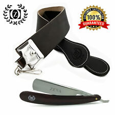 Marble Print Shave Ready Straight Edge Razor with Raw Cowhide Leather Strop Belt