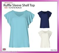New Ladies Women  Plain V-Neck Ruffle Sleeve Shell Top Plus Sizes 12-22