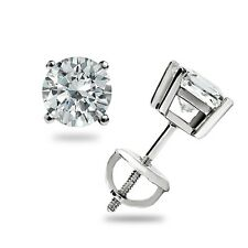 .50 ct Round cut Ideal VVS1 Stud Earrings Basket Set 14k White Gold Screw back D