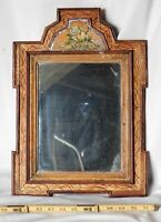 Antique courting mirror early 18th c American Dutch eglomise reverse glass paint