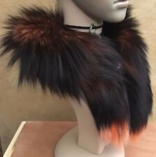 orange black genuine real fox tail fur collar scarf neck warmer shawl stole