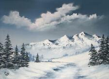 "BLUE WINTER 16x20"" LANDSCAPE ART PRINT ON ARCHIVAL PAPER"