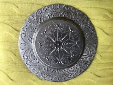 Plate grey painted glass Asian/Middle Eastern pattern type design