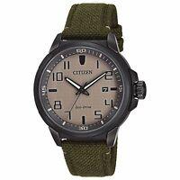 Citizen Eco-Drive Men's AW1465-14H AR Beige Dial Green Nylon Strap 43mm Watch