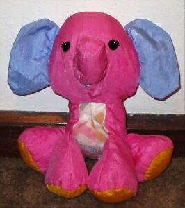 "VERY RARE FISHER PRICE BABY PUFFALUMPS PLUSH ELEPHANT RATTLE PINK PURPLE 10"" VGC"