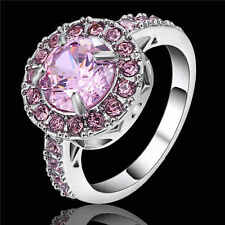New Engagement Women Round Pink Sapphire18K white gold filled Wedding Ring Size8