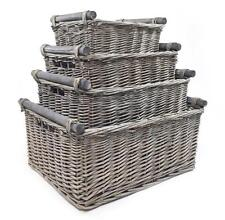 Shabby Chic Grey Wicker Log Big Deep Oval Rectangl Lidded Hamper Storage Basket