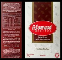 Al Ameed Turkish Ground Coffee with Cardamom 100% Arabica Medium Roast 250g