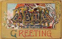 Easter Greeting c1910 Embossed Postcard EASTER Bells