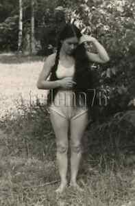 1950s Pretty Young Woman Lingerie Bare Figure Long Black Hair Gal Russian photo