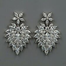 White Gold Plated Cubic Zirconia CZ Wedding Bridal Drop Dangle earrings 4008 New