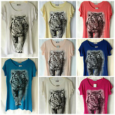 NEW WOMENS SIZES 12-18 ANIMAL TIGER FACE PRINT JERSEY SHORT SLEEVE T.SHIRT TOP