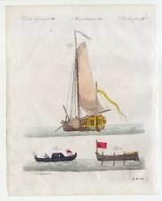 Schiffe-Segelschiff-Jacht-Segeln-Schaluppe-Gondel-Ships-Bertuch-Kupferstich 1810