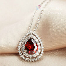 18K White Gold Plated Cubic Zirconia Gorgeous Teardrop Double Halo Necklace