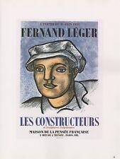 """1989 VINTAGE """"FERNAND LEGER"""" CONSTRUCTEURS MOURLOT MINI POSTER COLOR Lithograph"""