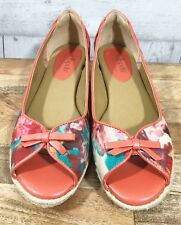 SOFTSPOTS ADEN Peach Floral Watercolor Espadrilles Peep Toe Shoes Womens 8M EUC