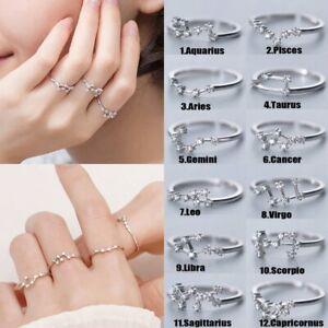 925 Silver 12 Constellations Zodiac Sign Finger Rings Zircon Adjustable Rings