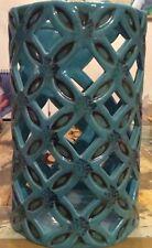 "Cylindrical Ceramic Lantern Holder Vase Blue Turquoise w/ Black 8.5"" H New!"