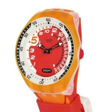 RARE 2006 SWATCH SUGK110 RED FISH FUN SCUBA DEPTH SENSOR DIVER WATCH - MINT