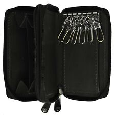 Genuine Leather Men's Key Holder Double Zip around 6 Key Chain Wallet Case Black