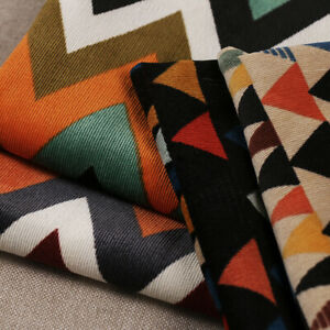 Geometric Triangles Print Corduroy Fabric Cloth Dress Clothes Sewing Material 1M