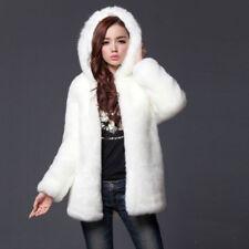 Women Faux Fur Hooded Coat Jacket Fluffy Parka Hip Length Winter Warm Outwear