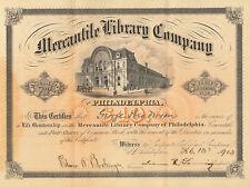 Mercantile Library Company of Philadelphia > 1903 Pennsylvania stock certificate