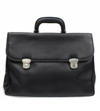 Authentic VALENTINO Business Bag Black Leather Briefcase Made In Italy