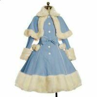 Women Lolita Fur Wool Coat Christmas Sweet Princess Dresses with Fur Warm Cape