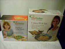 Chef Creations 4-Piece Wok Set and Bamboo Salad Bowl