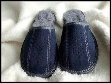Mens Suede Leather Wool Slippers Blue Warm Shoes Winter size 7,8,9,10,11,12