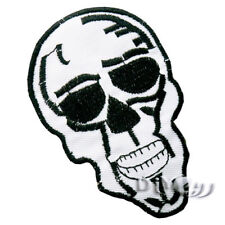 White Pirate Skull Embroidered Iron on Patch Applique Rock Bker Vest Jacket
