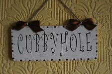 Lovely Decorative Handcrafted Wooden Door Sign / Plaque CUBBYHOLE