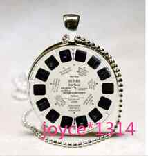 Viewmaster Reel Cabochon Tibetan silver Glass Chain Pendant Necklace #1070