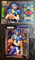 2019 AARON RODGERS 💥STAINED GLASS💥 (LOT OF 2) Panini Prizm - GREEN BAY PACKERS