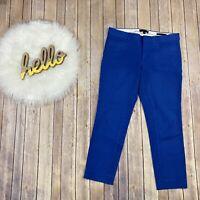 "Banana Republic Women Sloan Pants Size 8 Crop Blue Solids Midrise Stretch 25.5"""