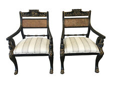 English Antique Regency Style Cane Back Painted Arm Chairs - a Pair
